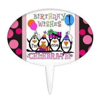 Penguin 1st Birthday Cake Topper