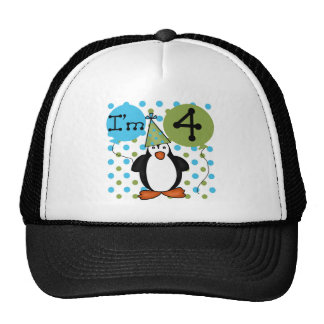 Penguin 4th Birthday Tshirts and Gifts Cap