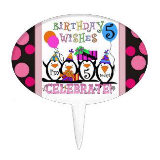 Penguin 5th Birthday Cake Topper
