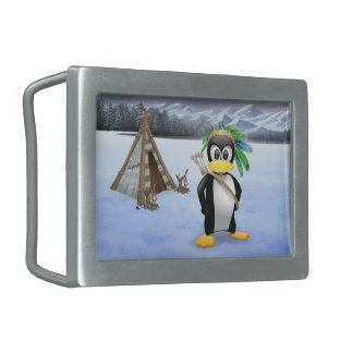 Penguin American Indian cartoon Belt Buckle