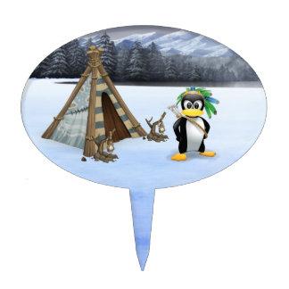 Penguin American Indian cartoon Cake Pick