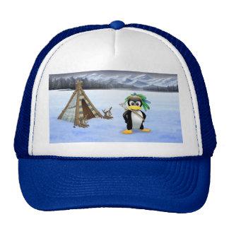 Penguin American Indian cartoon Cap