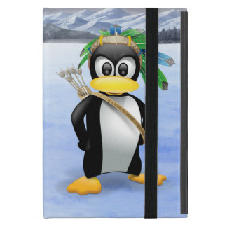 Penguin American Indian cartoon Cover For iPad Mini