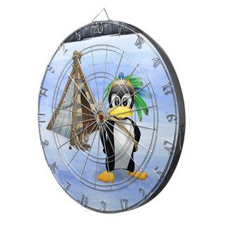 Penguin American Indian cartoon Dartboard
