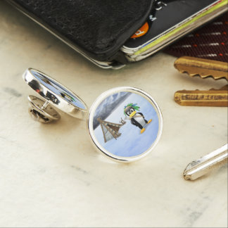 Penguin American Indian cartoon Lapel Pin
