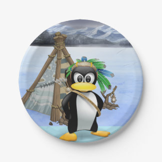 Penguin American Indian cartoon Paper Plate