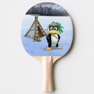 Penguin American Indian cartoon Ping Pong Paddle