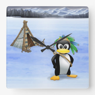 Penguin American Indian cartoon Square Wall Clock