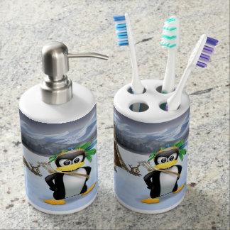 Penguin American Indian cartoon Toothbrush Holder