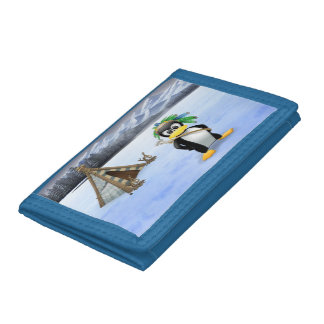 Penguin American Indian cartoon Trifold Wallets