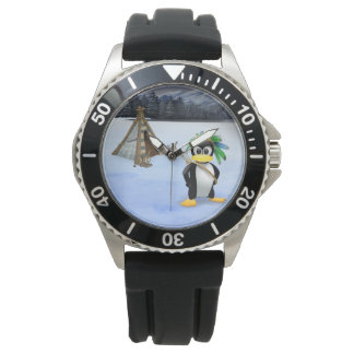 Penguin American Indian cartoon Wrist Watches