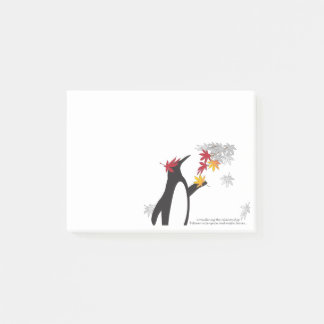 Penguin and Autumn Leaves Quote Fall Season Funny Post-it® Notes