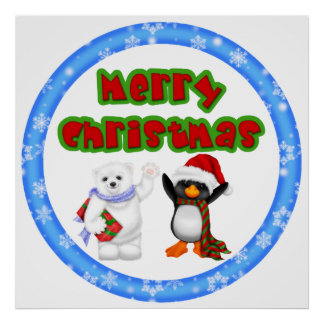 Penguin and Bears Christmas Wish Posters