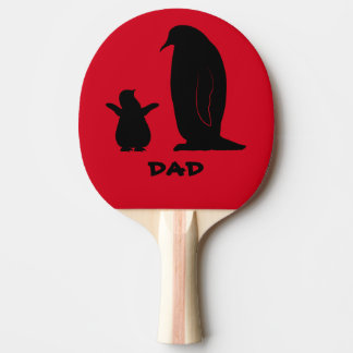 Penguin and Chick in Silhouette Ping Pong Paddle