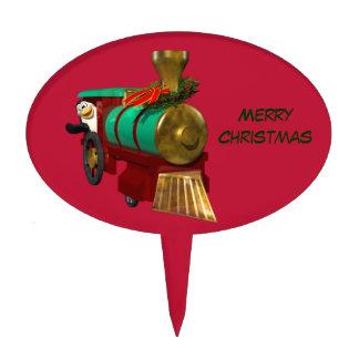 Penguin and Christmas Train Cake Pick
