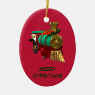 Penguin and Christmas Train Christmas Ornament
