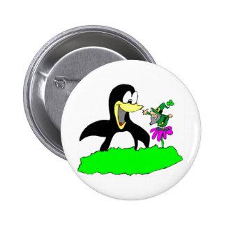 Penguin and Leprechaun 6 Cm Round Badge