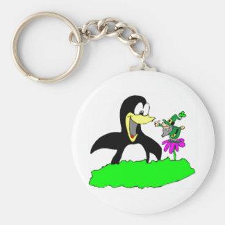 Penguin and Leprechaun Basic Round Button Key Ring