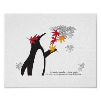 Penguin and Maple Leaves Fall Season Funny Cool Poster