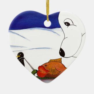 penguin and polar bear ceramic heart decoration