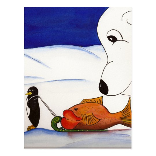 penguin and polar bear postcard