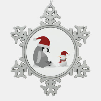 Penguin and snowman snowflake pewter christmas ornament