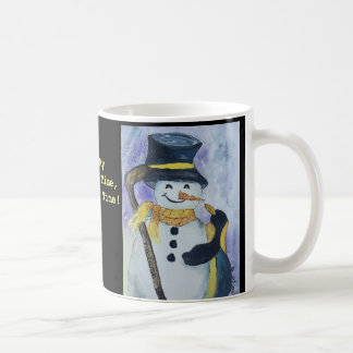 Penguin and Snowman with hockey stick mug