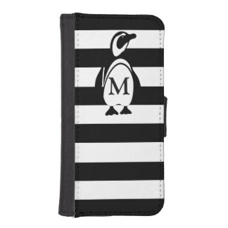 Penguin and Stripes iPhone SE/5/5s Wallet Case