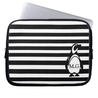 Penguin and Stripes Laptop Sleeve
