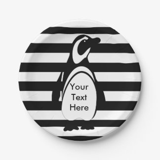 Penguin and Stripes Paper Plate