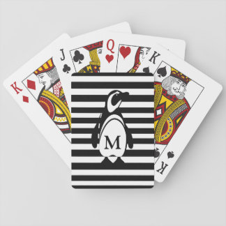 Penguin and Stripes Playing Cards