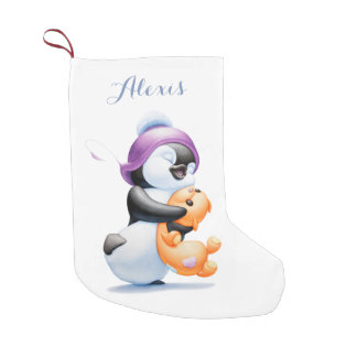 Penguin and Teddy Bear Personalized Stocking