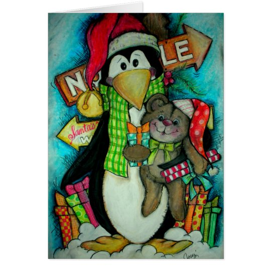 Penguin and Teddy Pal - Holiday Fun Card