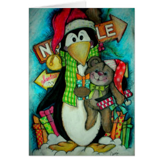 Penguin and Teddy Pal - Holiday Fun Greeting Card
