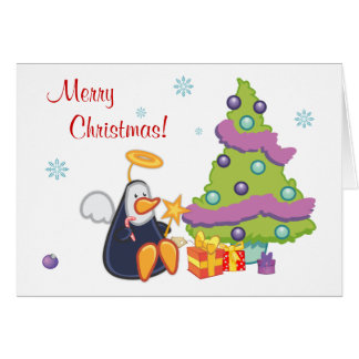 Penguin Angel Christmas Greeting Card