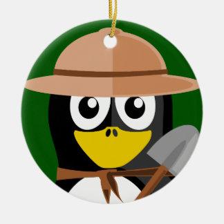 Penguin Archaeologist Christmas Ornament