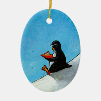 Penguin art fun cute bird in glasses reading book christmas ornament