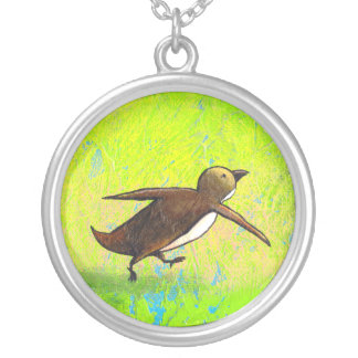 Penguin art hurried rushing Grace Under Pressure Round Pendant Necklace