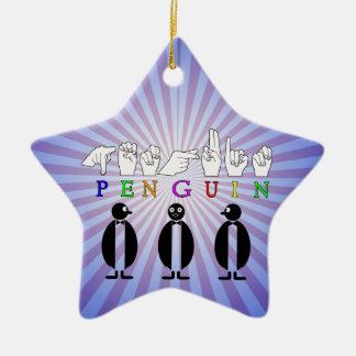 PENGUIN ASL FINGER SPELLED SIGN CERAMIC STAR DECORATION