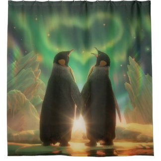 Penguin Aurora Shower Curtain