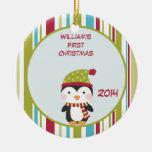 Penguin Baby 1st Christmas Customizable Ornament