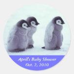 Penguin Baby Shower Round Stickers