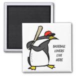 penguin baseball, Baseball loverslive here Refrigerator Magnet