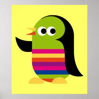 Penguin Bird Cartoon Art Animals Poster
