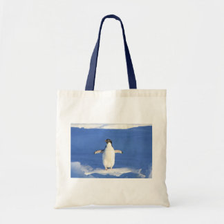 Penguin Bird Feathers Black White Personalize Name Tote Bag
