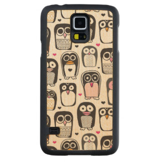 penguin bird illustration background carved maple galaxy s5 case