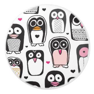 penguin bird illustration background ceramic knob