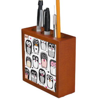 penguin bird illustration background desk organiser
