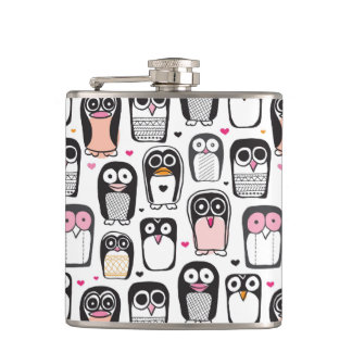 penguin bird illustration background hip flask