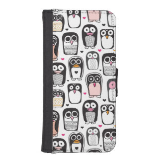 penguin bird illustration background iPhone SE/5/5s wallet case